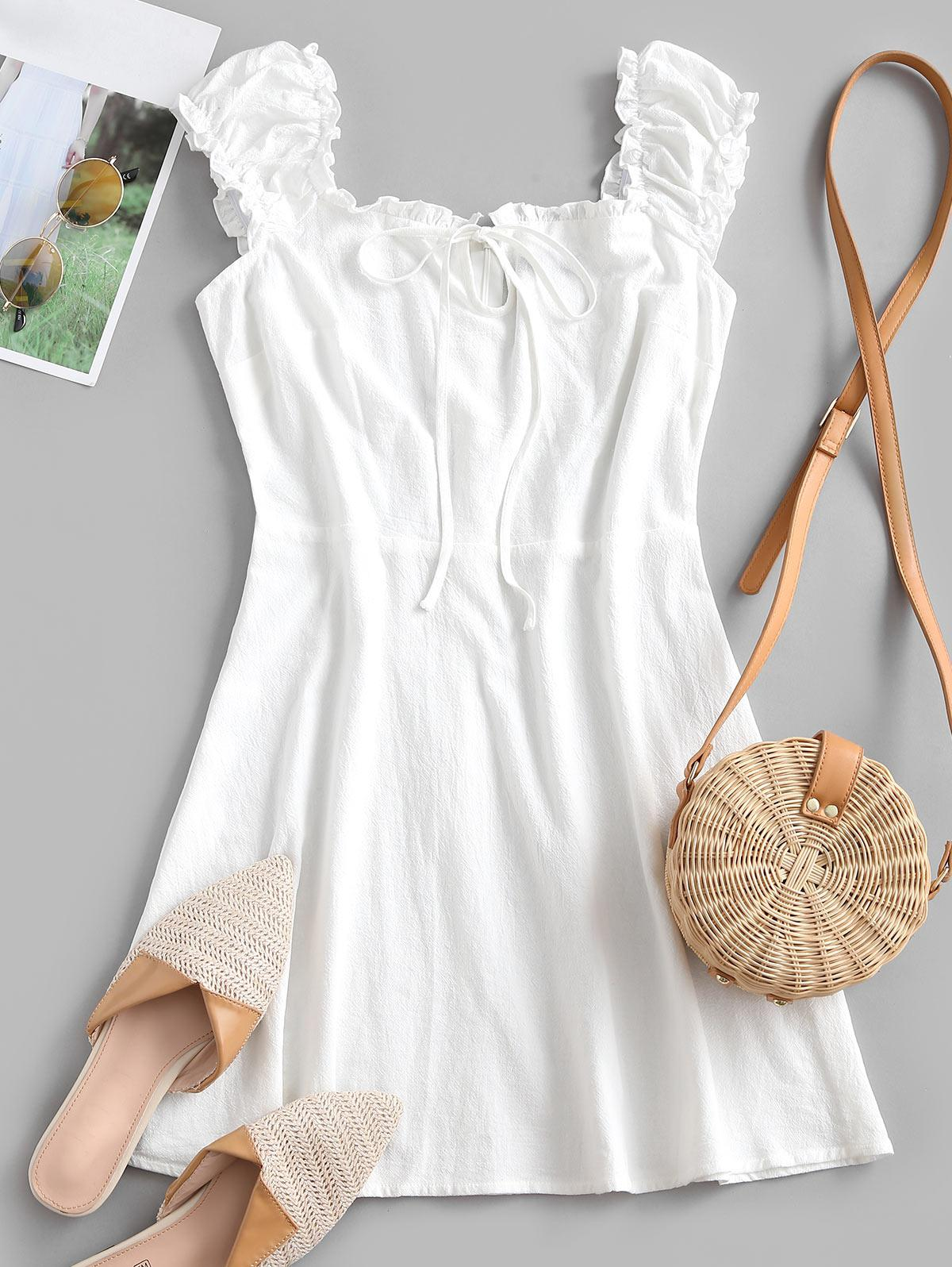 ZAFUL Frilled Tie A Line Short Dress