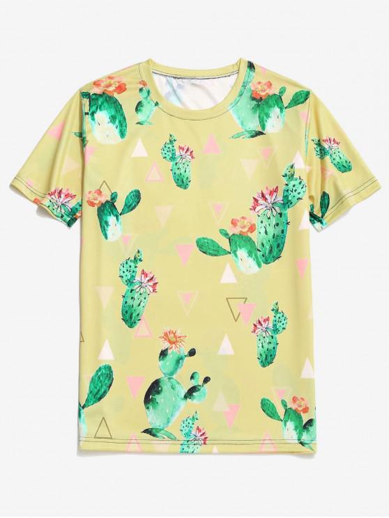 Kaktus Blumen Geometrisches Druck Kurzarm T-Shirt - Gelb 3XL