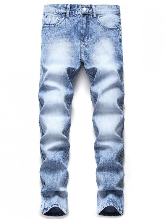 lady Casual Zipper Fly Pocket Faded Jeans - JEANS BLUE 42