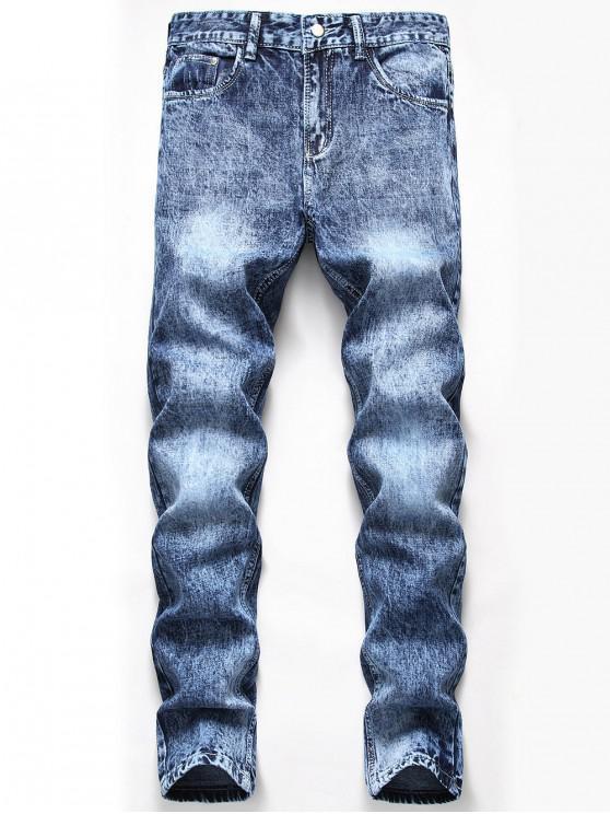 outfits Casual Zipper Fly Cuffed Jeans - DENIM BLUE 42