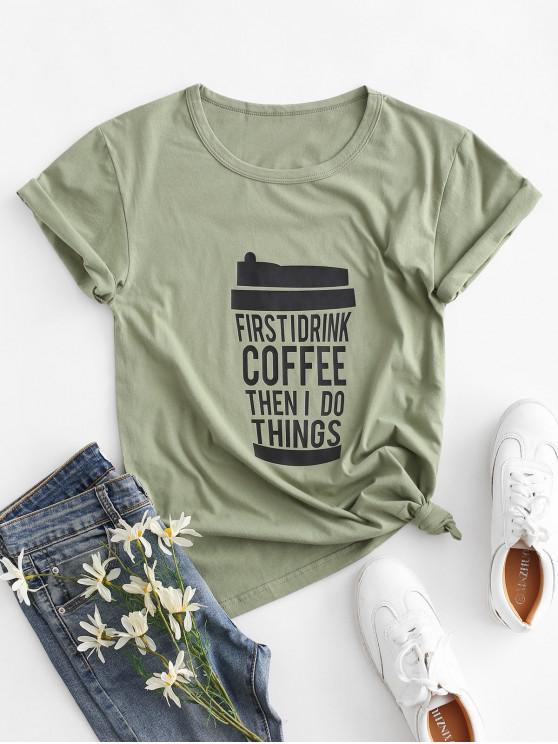 Cafea grafică de bază T Shirt - Verde XL