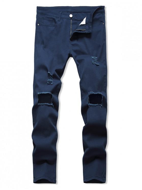 Solid Culoare Rupte Hole Jeans - Denim albastru închis 40