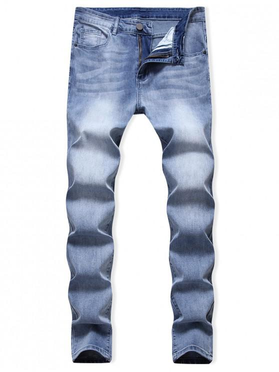 fashion Casual Zip Fly Faded Jeans - DENIM BLUE 42