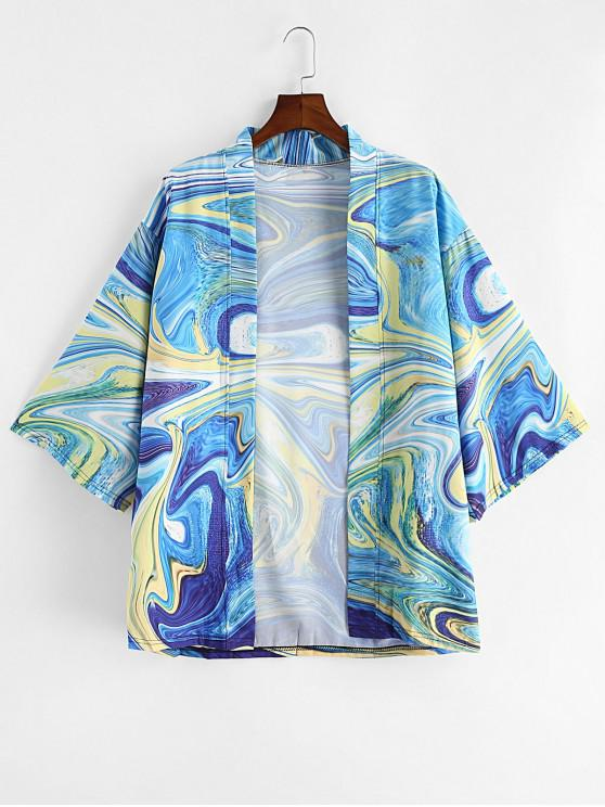 buy Agate Print Drop Shoulder Kimono Cardigan - DODGER BLUE 3XL
