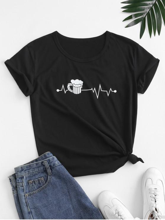 shop Funny Graphic Cotton Basic Tee - BLACK M
