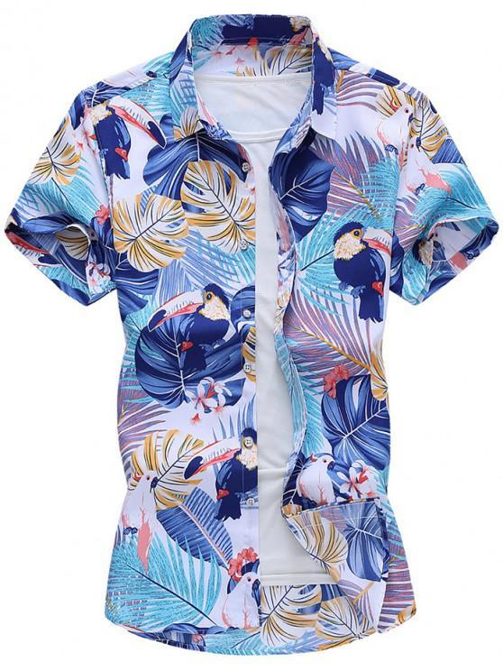 trendy Tropical Leaf Flower Parrot Hawaii Vacation Shirt - MULTI-B 2XL