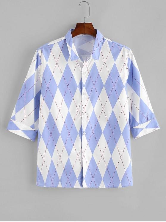 affordable Rhombus Print Button Up Casual Shirt - LIGHT BLUE XS