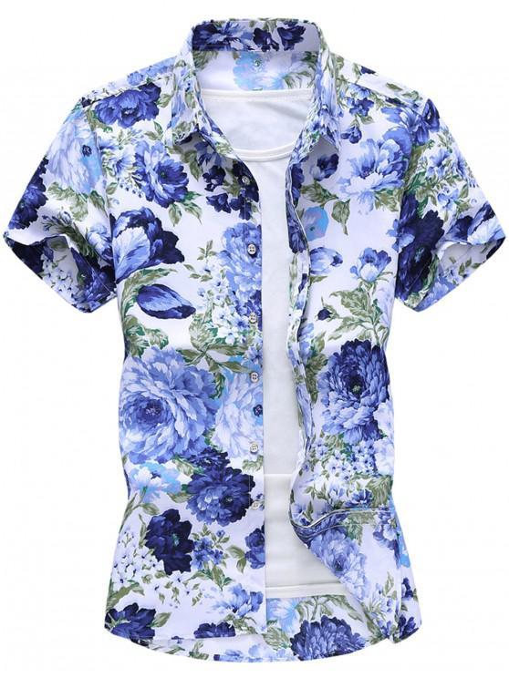 affordable Flower Print Hawaii Beach Shirt - WHITE 2XL