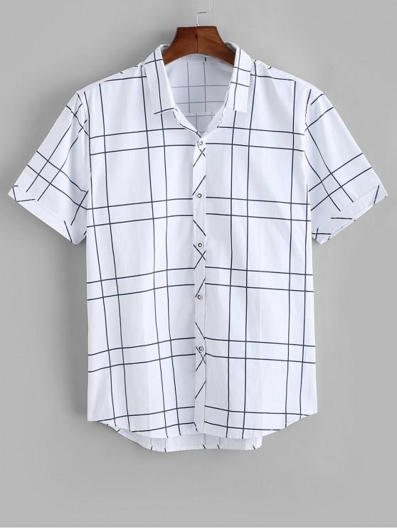 Camisa a Cuadros Abotonado Estampado Gatos - Blanco XS