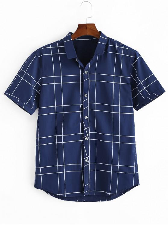 women's Windowpane Check Print Button Up Shirt - CADETBLUE M