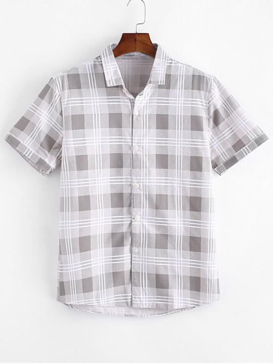 hot Plaid Print Casual Button Up Shirt - KHAKI S