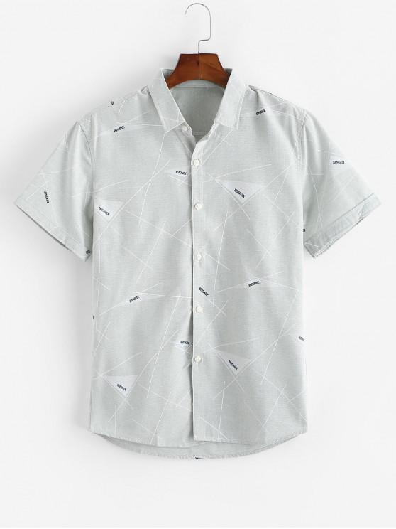 Lines and Letters Print Button Up Shirt - اخضر فاتح S