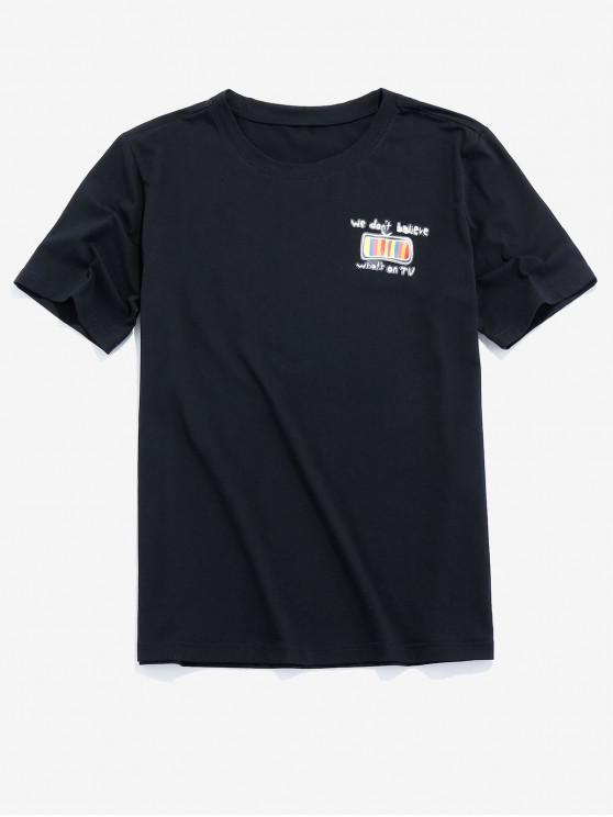 ZAFUL TV Graphic Print Casual T-shirt - أسود 2XL