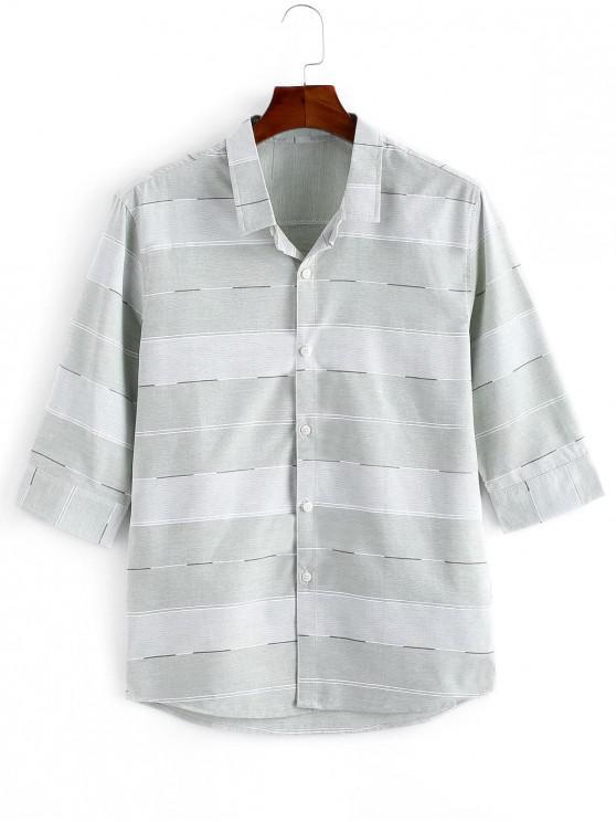 Camisa Casual de Rayas con Estampado - Verde claro XS
