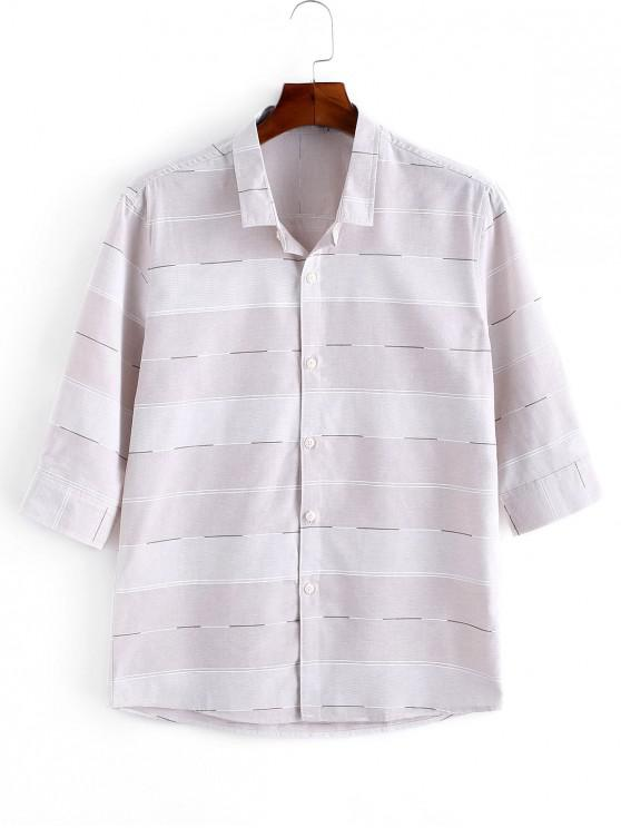 affordable Striped Print Button Up Casual Shirt - PINK S