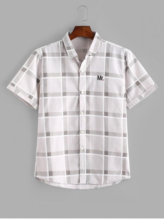 Camisa a Cuadros con Bordado de Letras y Botones - Caqui XS
