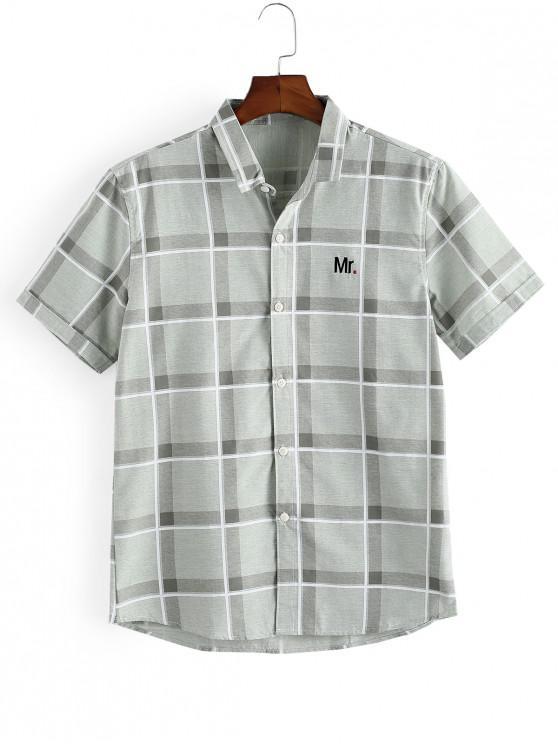Camisa a Cuadros con Bordado de Letras y Botones - Verde claro M