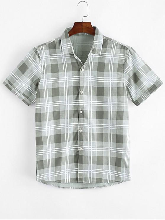 Camisa Casual a Cuadros con Botón - Verde claro S