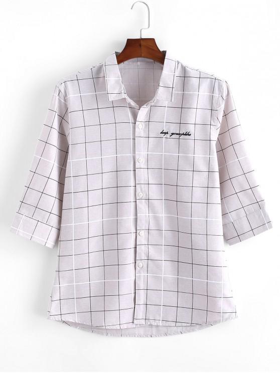 trendy Graph Checks Print Button Up Shirt - GRAY XS