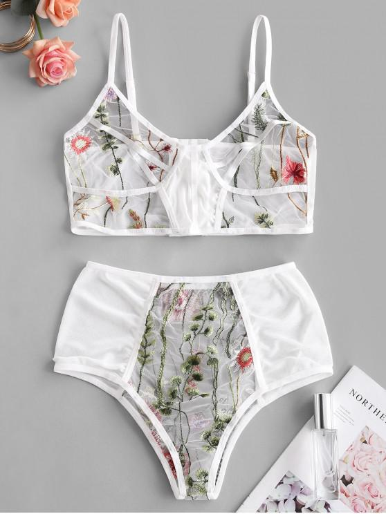 outfits Sheer Mesh Floral Embroidered Lingerie Set - WHITE M