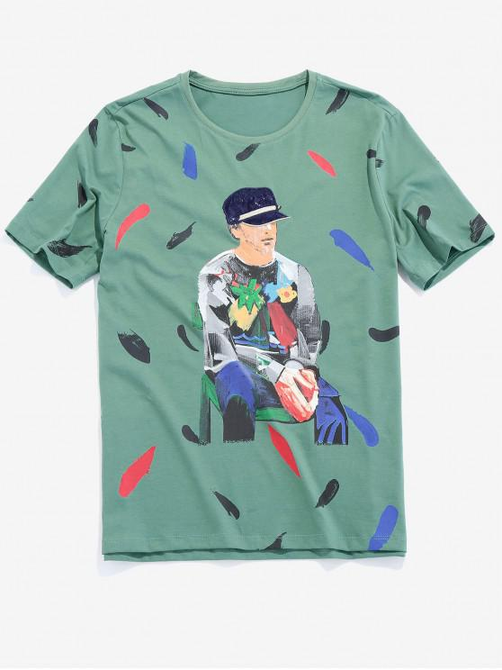 fancy Men Painting Graphic Basic T-shirt - CLOVER GREEN XS