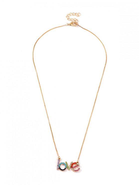 Colorful Rhinestone Letter Pendant Necklace - ذهب