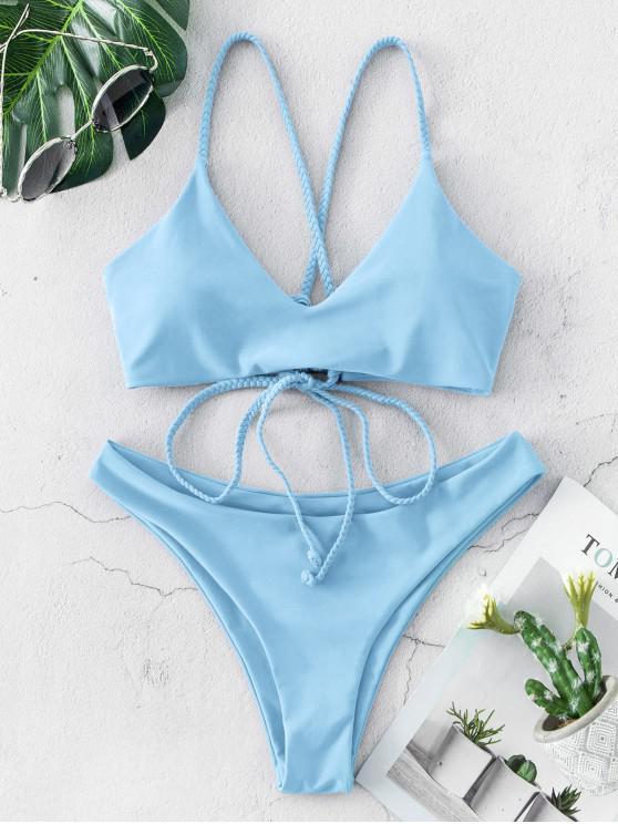 lady ZAFUL Braided Straps Lace Up Low Waisted Bikini Swimsuit - DAY SKY BLUE S