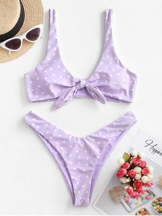 fashion ZAFUL Reversible Tie Front High Cut Valentine Star Heart Bikini Swimwear - MAUVE M