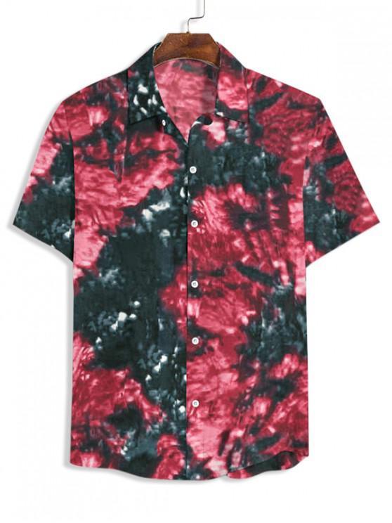 buy Tie Dye Print Button Up Shirt - MULTI-C 3XL