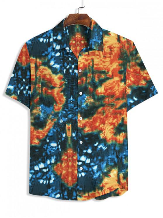 Tie Dye Print Button Up Shirt - متعددة-A 2XL