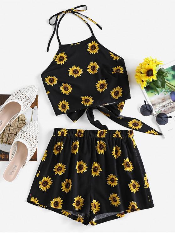 women ZAFUL Sunflower Tie Back Halter Loose Shorts Set - BLACK M