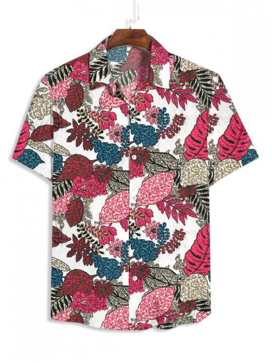 Blumen Blattmuster Kurzarm Knopf Hemd - Weiß 3XL