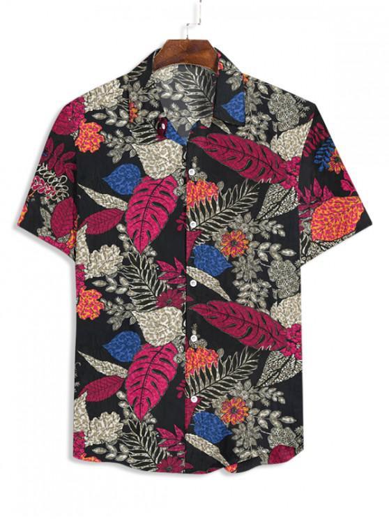 Camisa de Manga Corta con Estampado de Flor - Negro 3XL