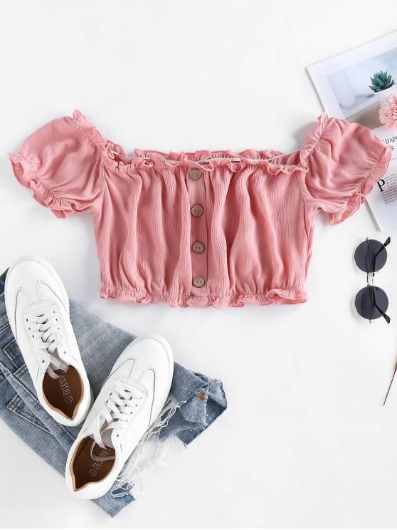 outfits Mock Button Frilled Crinkle Crop Blouse - ROSE L