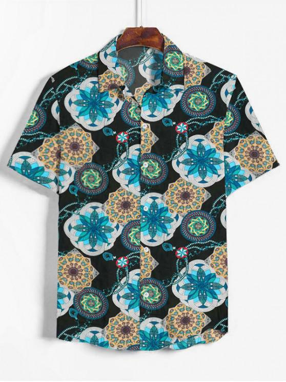 Bohemian Flower Print Button Up Shirt - الفيروز الداكن 2XL