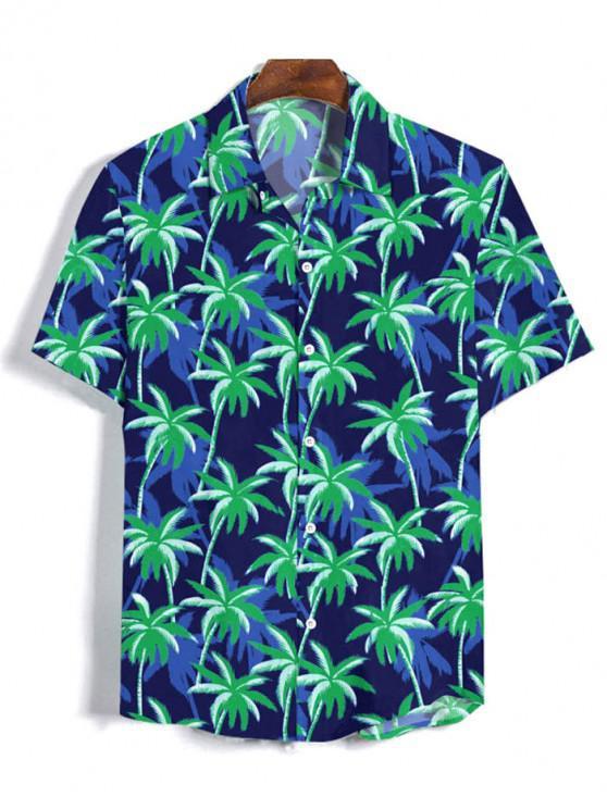 Coconut Tree Pattern Button Short Sleeves Shirt - الدينيم الأزرق الداكن 3XL