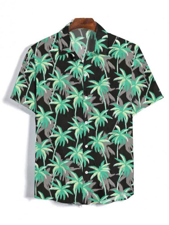 Camisa Manga Corta Estampado Árbol de Coco - Negro 2XL