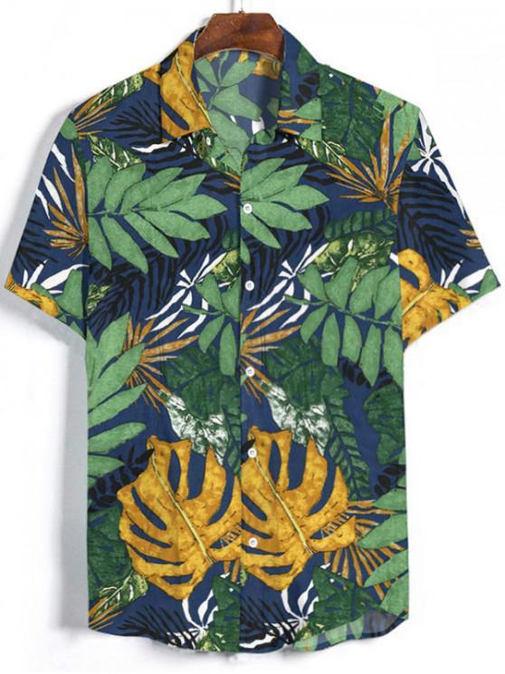 womens Leaf Pattern Short Sleeves Button Shirt - PINE GREEN 3XL