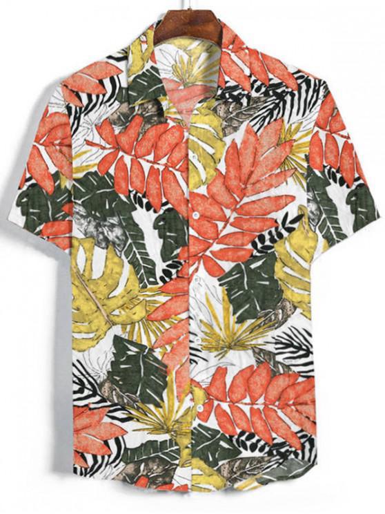 Camisa Manga Corta Estampado Hojas - Blanco 2XL