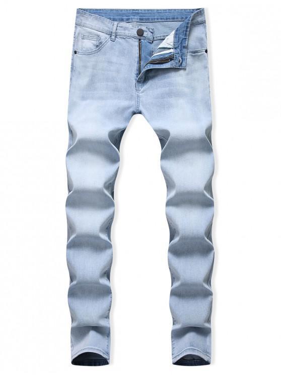 Jeans Casual de Pitillo con Cremallera y Lavado Claro - Azul de Jeans  32