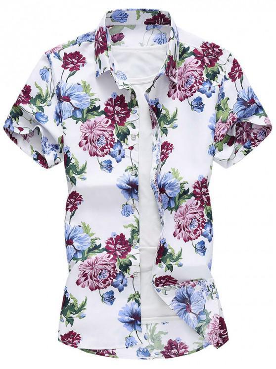 ladies Flower Print Beach Vacation Shirt - WHITE L