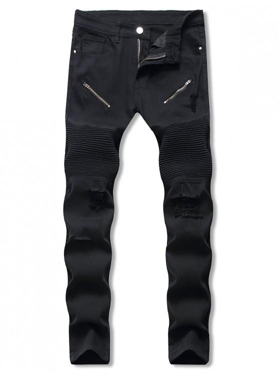 Jeans Rasgados de Color Sólido - Negro 32