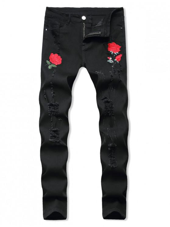 latest Floral Embroidered Ripped Design Jeans - BLACK 32