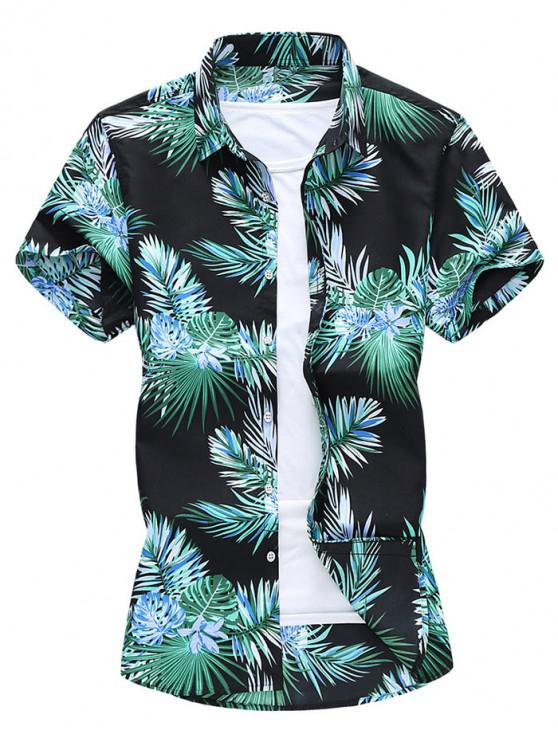 Camisa de Playa de Hawai con Estampado Tropical de Hojas - Negro 2XL