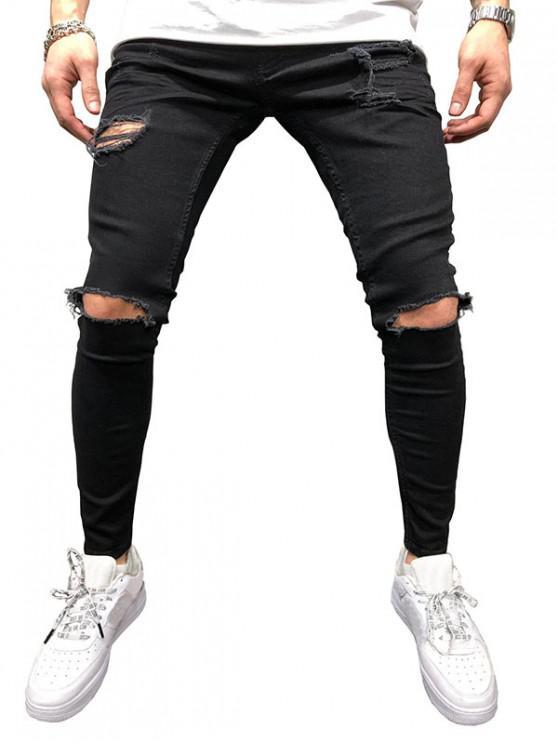 Jeans Desgarrado de Color Sólido con Cremallera - Negro 32
