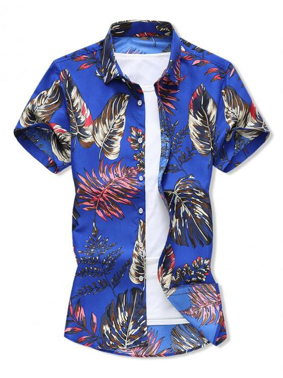 Camisa de Vacaciones de Estampado de Hoja Tropical - Azul de Arándanos M