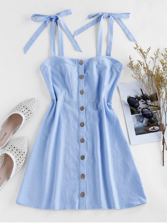 online ZAFUL Button Through Tie Shoulder Mini Dress - DAY SKY BLUE L
