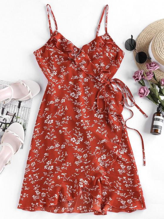 women ZAFUL Ditsy Print Ruffle Wrap Sundress - LAVA RED L
