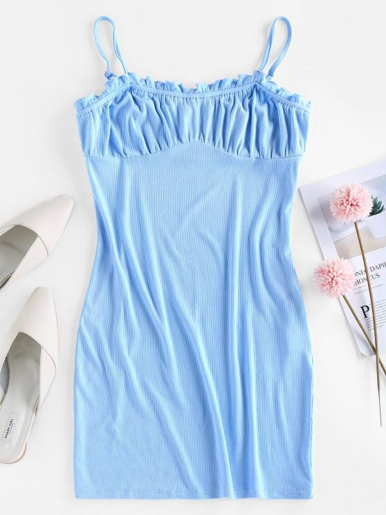unique ZAFUL Ribbed Ruffled Milkmaid Style Cami Dress - CRYSTAL BLUE S