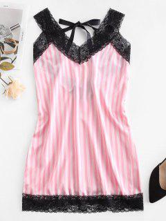 Striped Lace Panel Sleep Dress - Pig Pink S